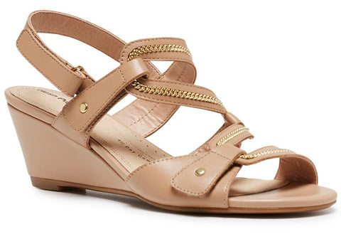 Hush Puppies Eydie Womens Leather Comfort Wedge Sandals
