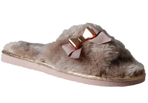 Grosby Bow Womens Open Back Indoor Slippers