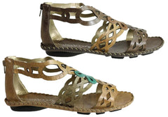 Andacco Betti Womens Comfort Flat Leather Sandals Made In Brazil