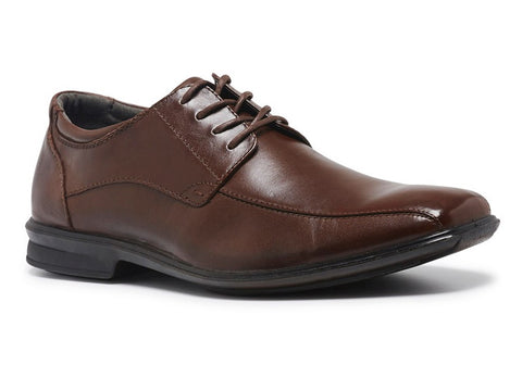 Hush Puppies Carey Mens Brown Leather Wide Fit Shoes