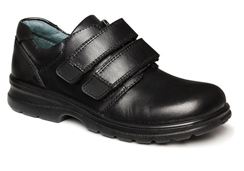 Clarks Lochie Black Leather Adjustable Strap School Shoes