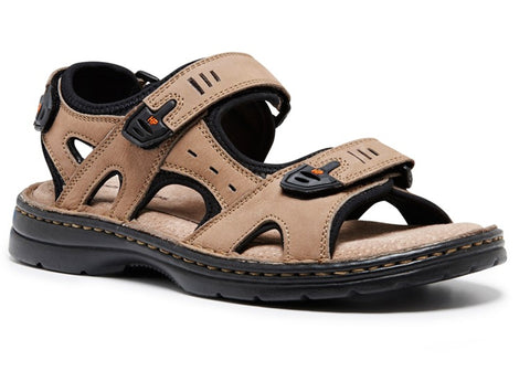 Hush Puppies Simmer Mens Comfort Leather Adjustable Wide Fit Sandals