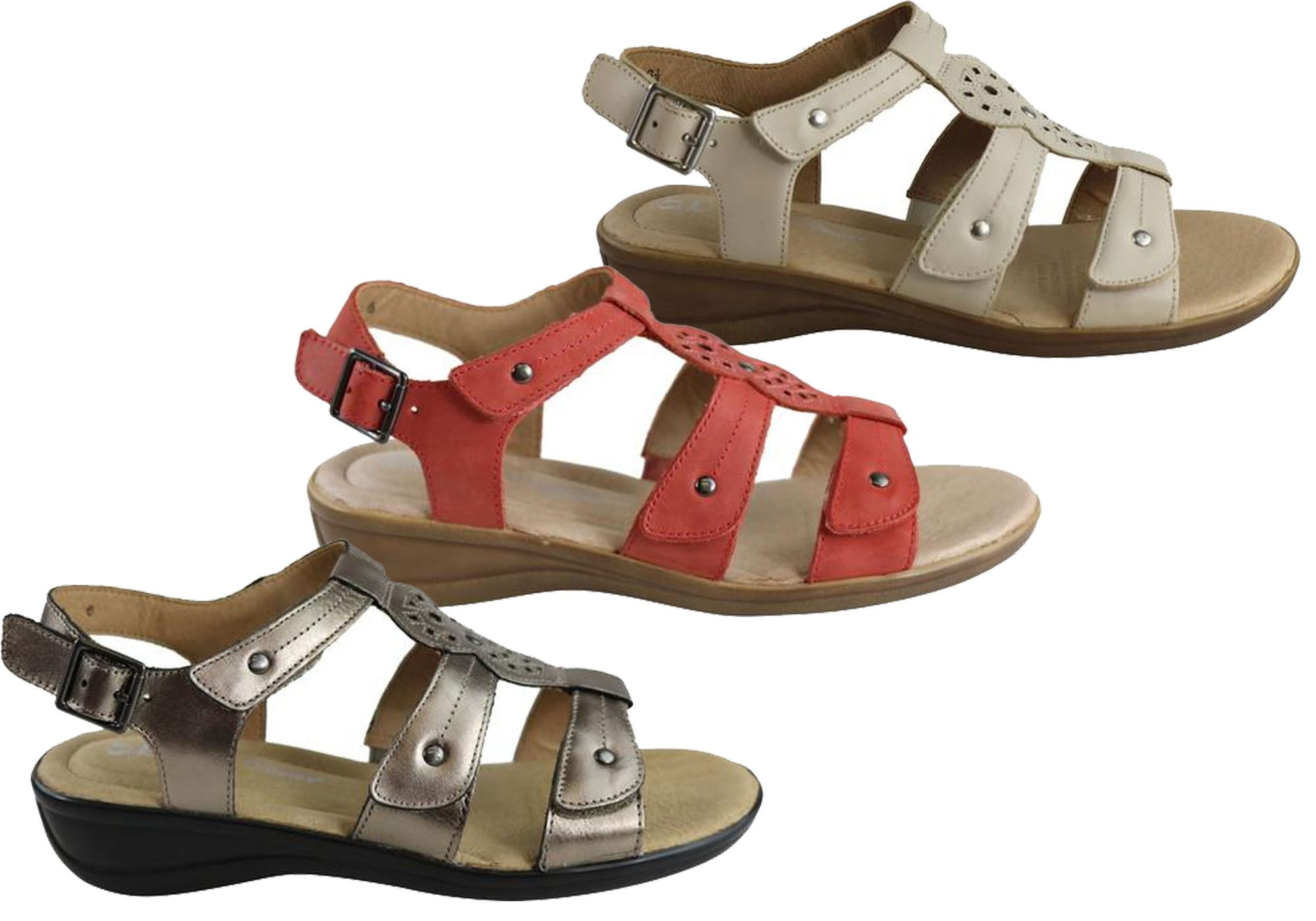 Details about NEW HUSH PUPPIES CARMIN WOMENS COMFORTABLE LEATHER ADJUSTABLE FLAT SANDALS