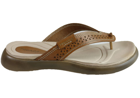 Pegada Vicky Womens Cushioned Leather Sandals Thongs Made In Brazil