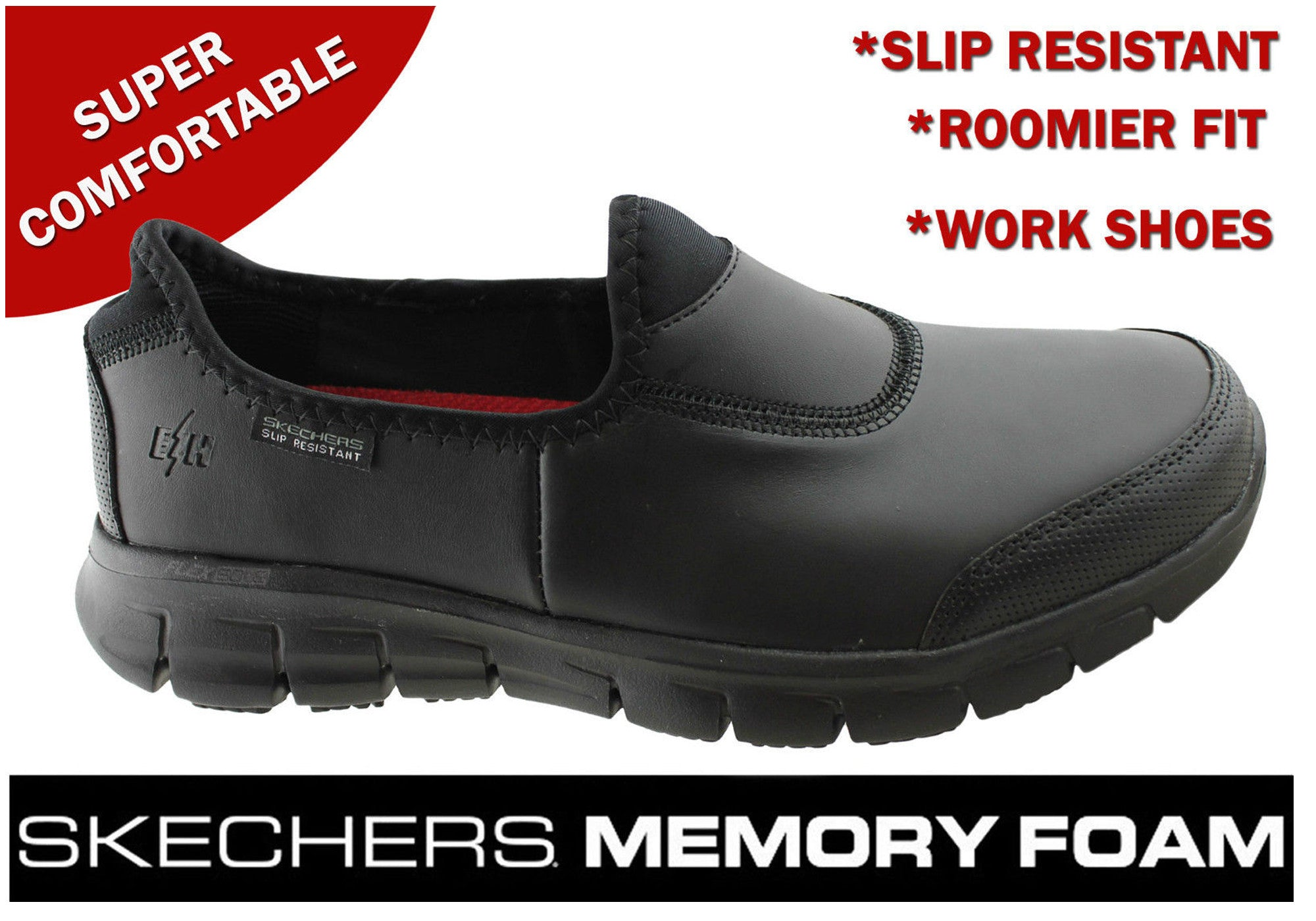 Details about Brand New Skechers Womens Sure Track Slip Resistant Comfort Leather Work Shoes