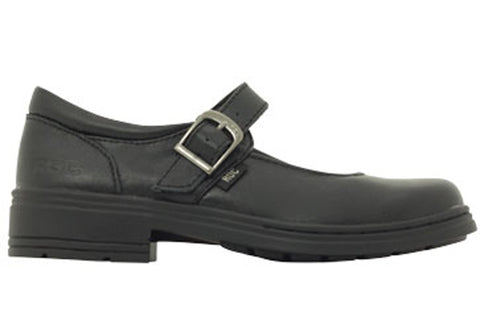 ROC Lara Junior Younger Girls/Kids Black School Shoes