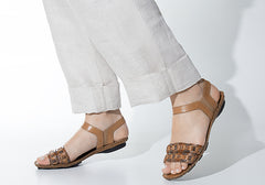 Andacco Envi Womens Comfortable Flat Leather Sandals Made In Brazil