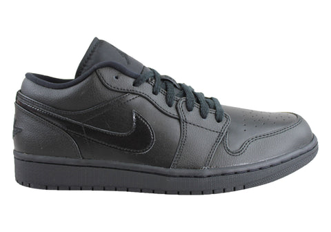 Nike Jordan 1 Low Mens Black Lace Up Leather Shoes