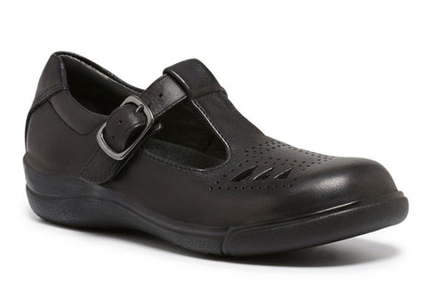 Clarks Pupil Girls Black Leather Tbar School Shoes