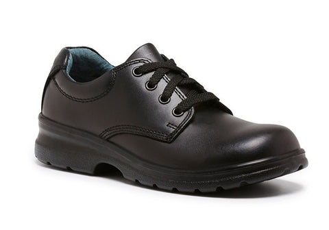 Clarks Library Kids Black Leather Lace Up School Shoes