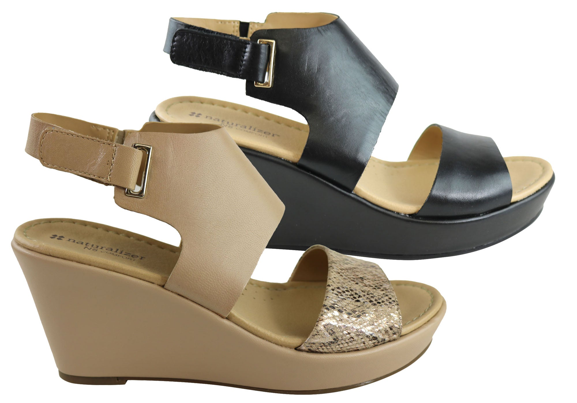 d8e6fa47994 New Naturalizer Nenna Womens Leather Comfortable Wedge Sandals