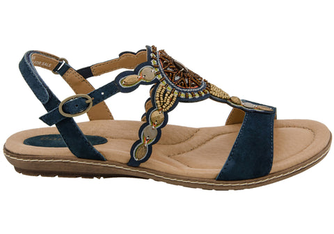 Earth Sunbeam Womens Comfortable Leather Flat Sandals With Beadwork