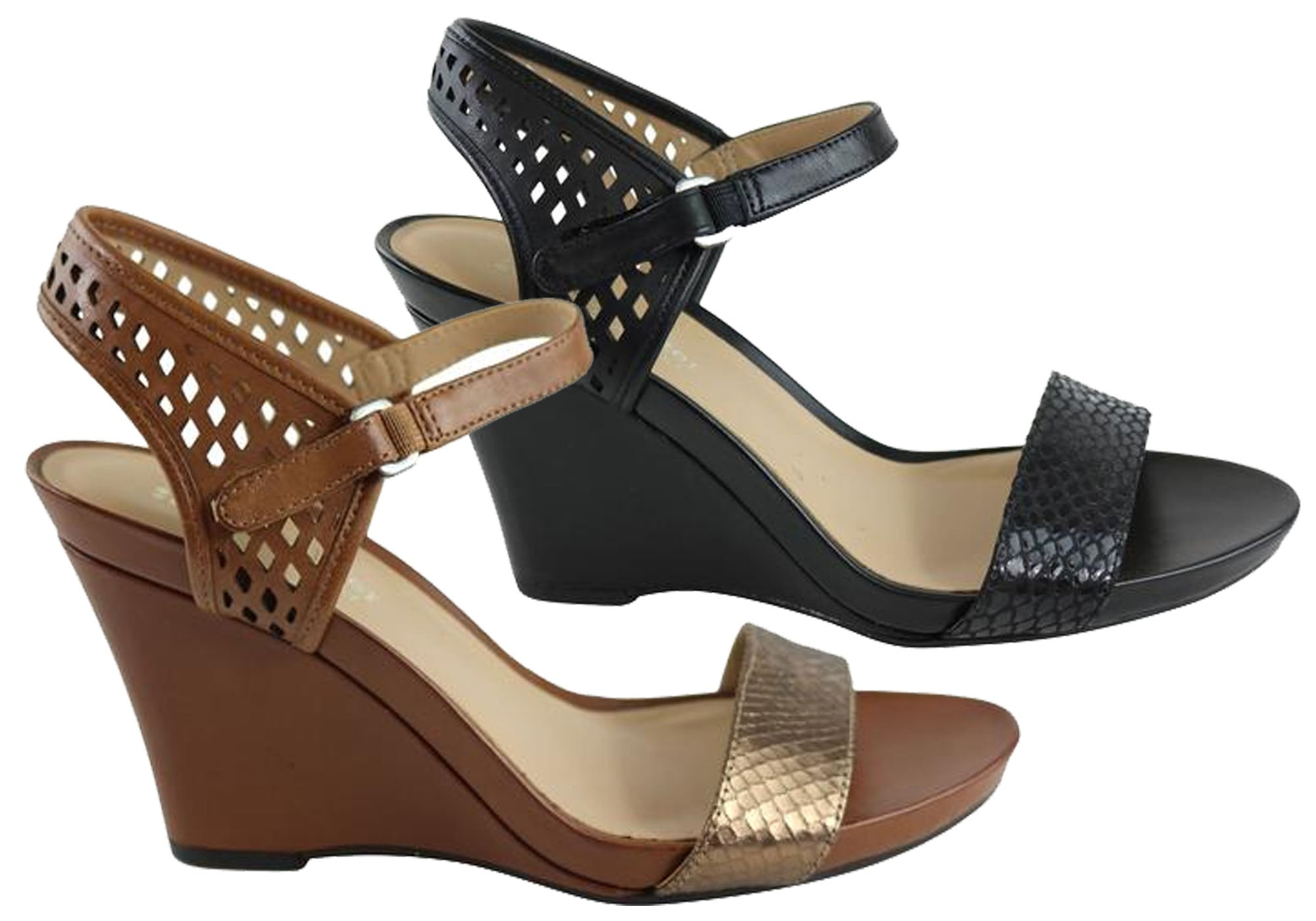 Details about Brand New Naturalizer Brealyn Womens Leather Comfort Wide Fit Wedge Sandals