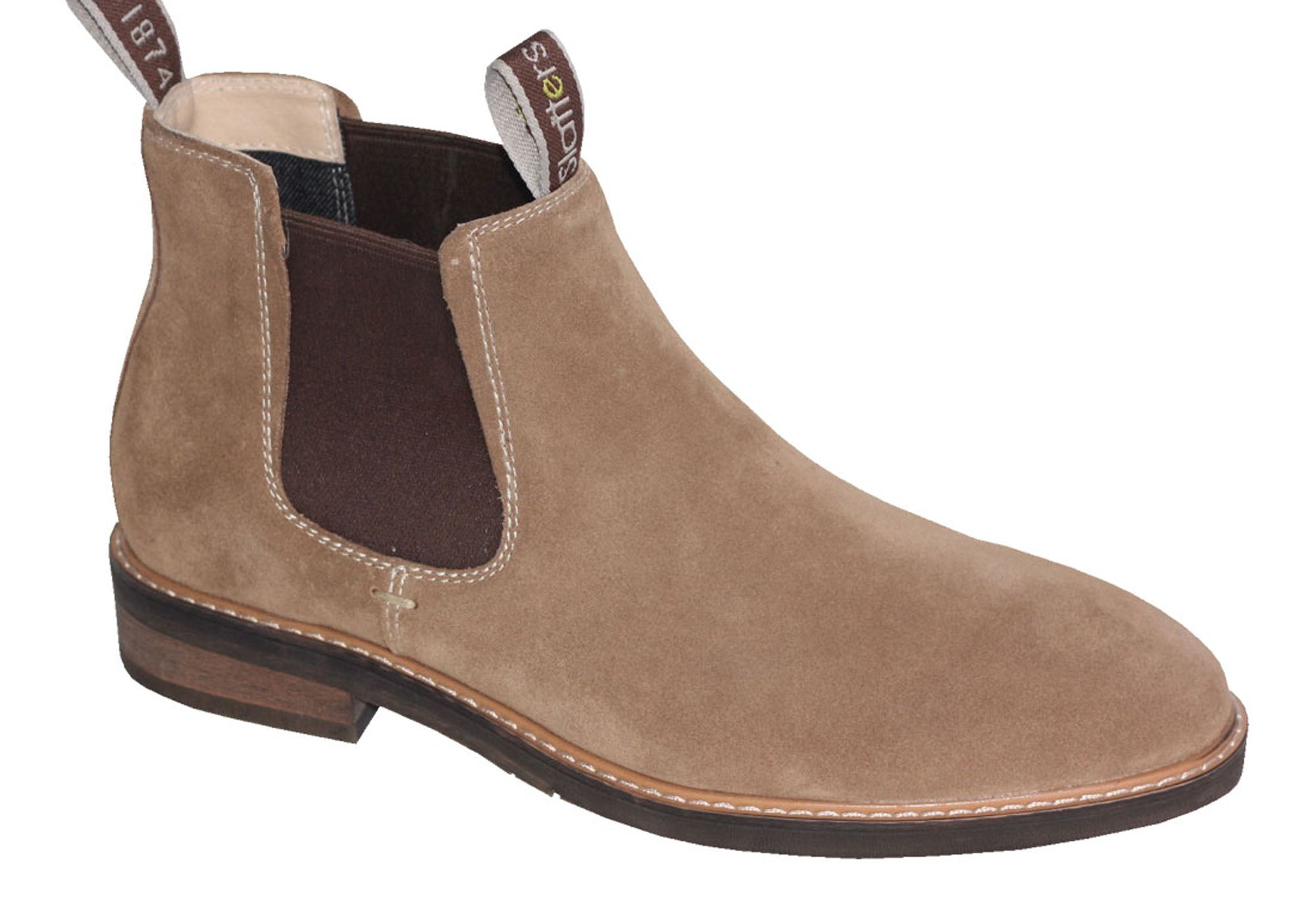 Brand New Slatters Oreilly Mens Comfortable Suede Chelsea Pull On Dress Boots