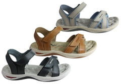 Pegada Patricia Womens Comfort Cushioned Adjustable Leather Sandals