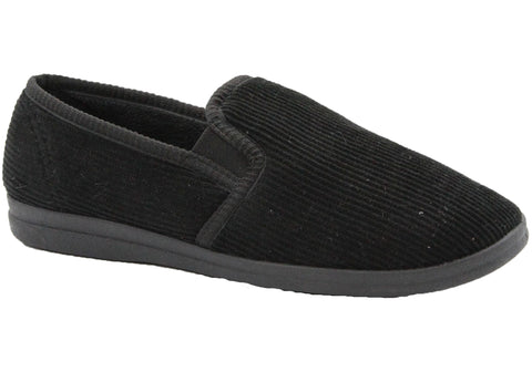Grosby Blake 2 Mens Black Comfortable Indoor Slippers
