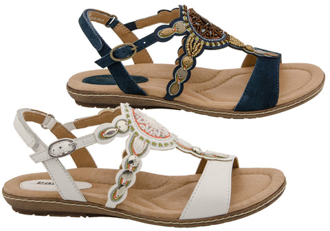 c6c1c4495 Earth Sunbeam Womens Comfortable Leather Flat Sandals With Beadwork ...
