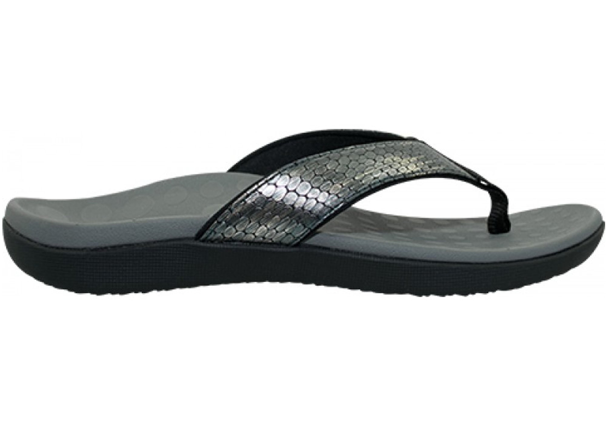 2bc656fc6 Home Scholl Orthaheel Sonoma II Womens Supportive Comfort Thongs Sandals.  Pewter Snake ...