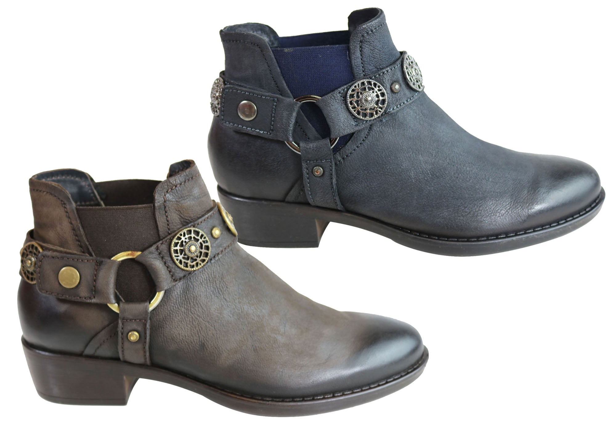 best service b0e44 c3b3f Details about Inuovo Deimos Womens Leather Fashion Low Heel Ankle Boots -  ShopShoesAU
