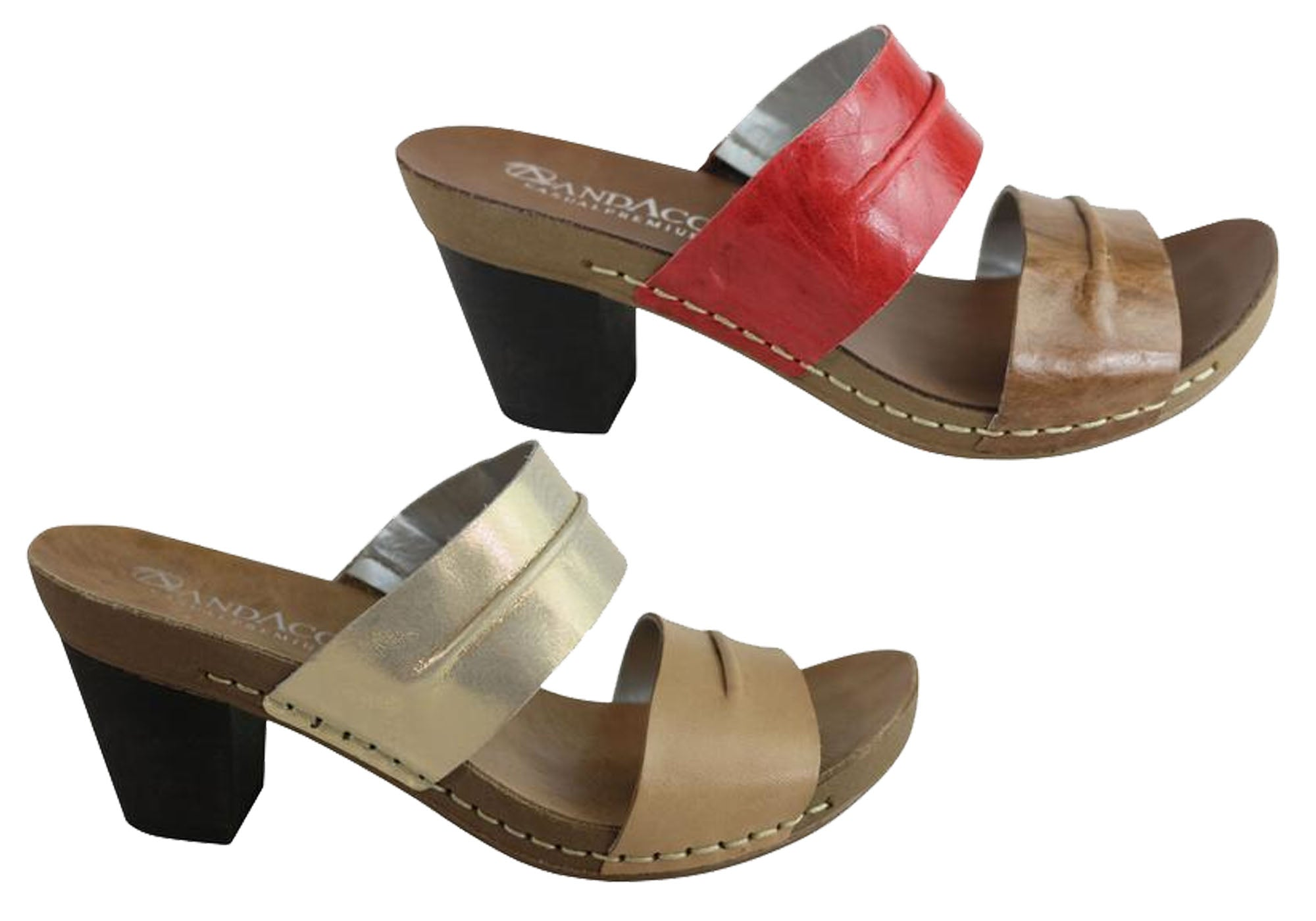 Brand New Andacco Nina Womens Leather Comfort Mid Heel Sandals Made In Brazil
