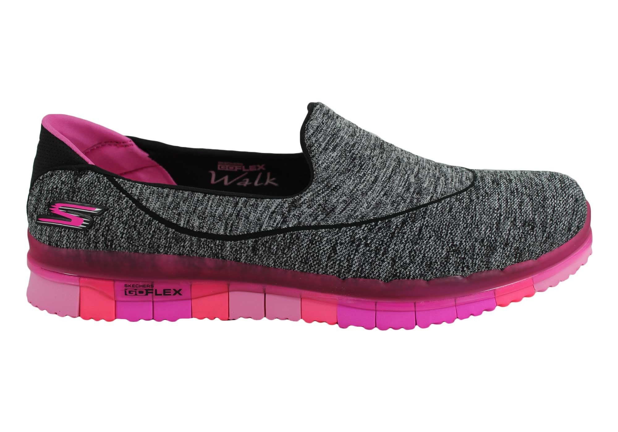 a7ba07b79537 Home Skechers Go Flex Walk Flexible Womens Slip On Shoes. Black Hot Pink ...