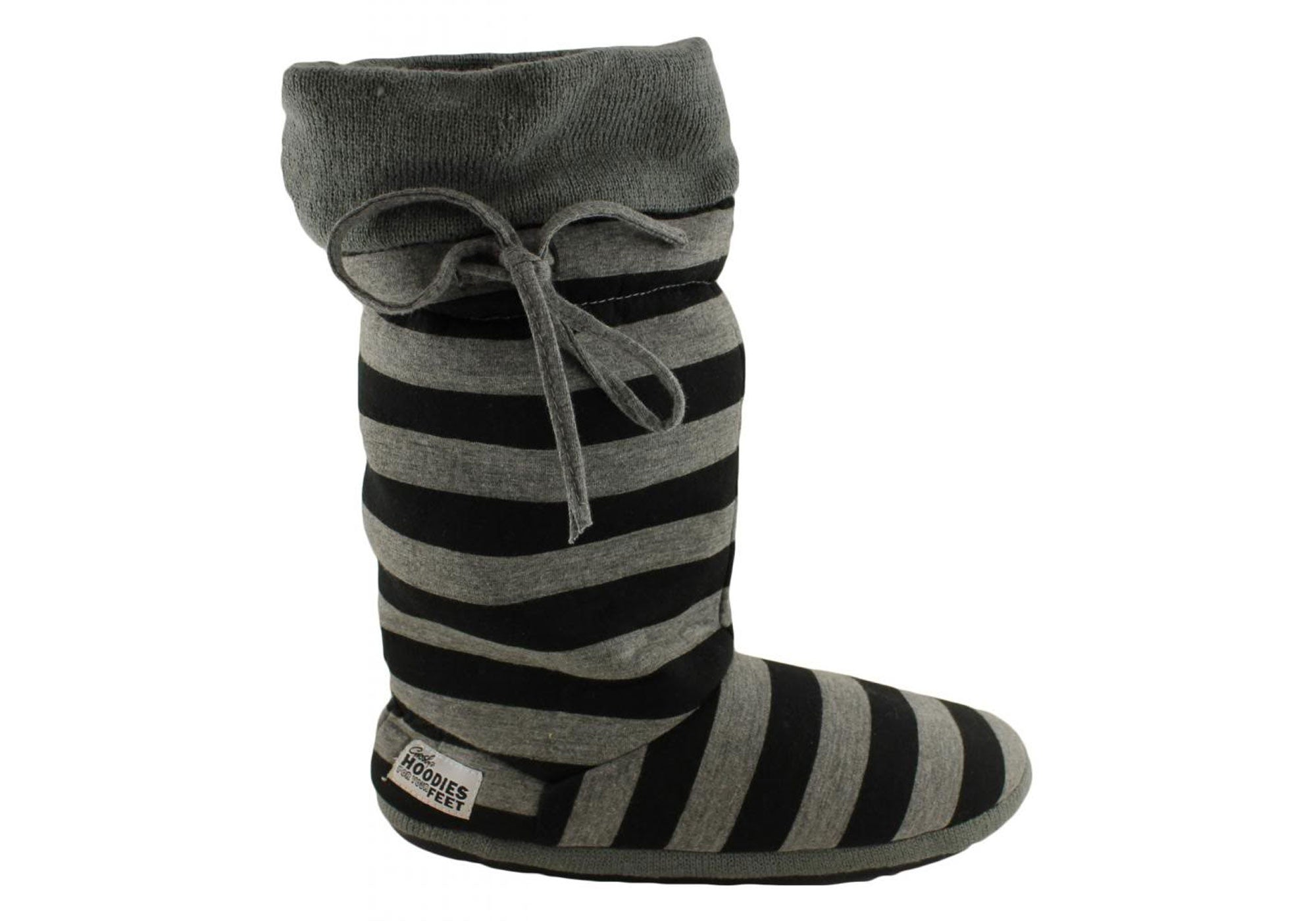 NEW GROSBY HOODIE JERSEY STRIPES WOMENS BOOTIE SLIPPERS