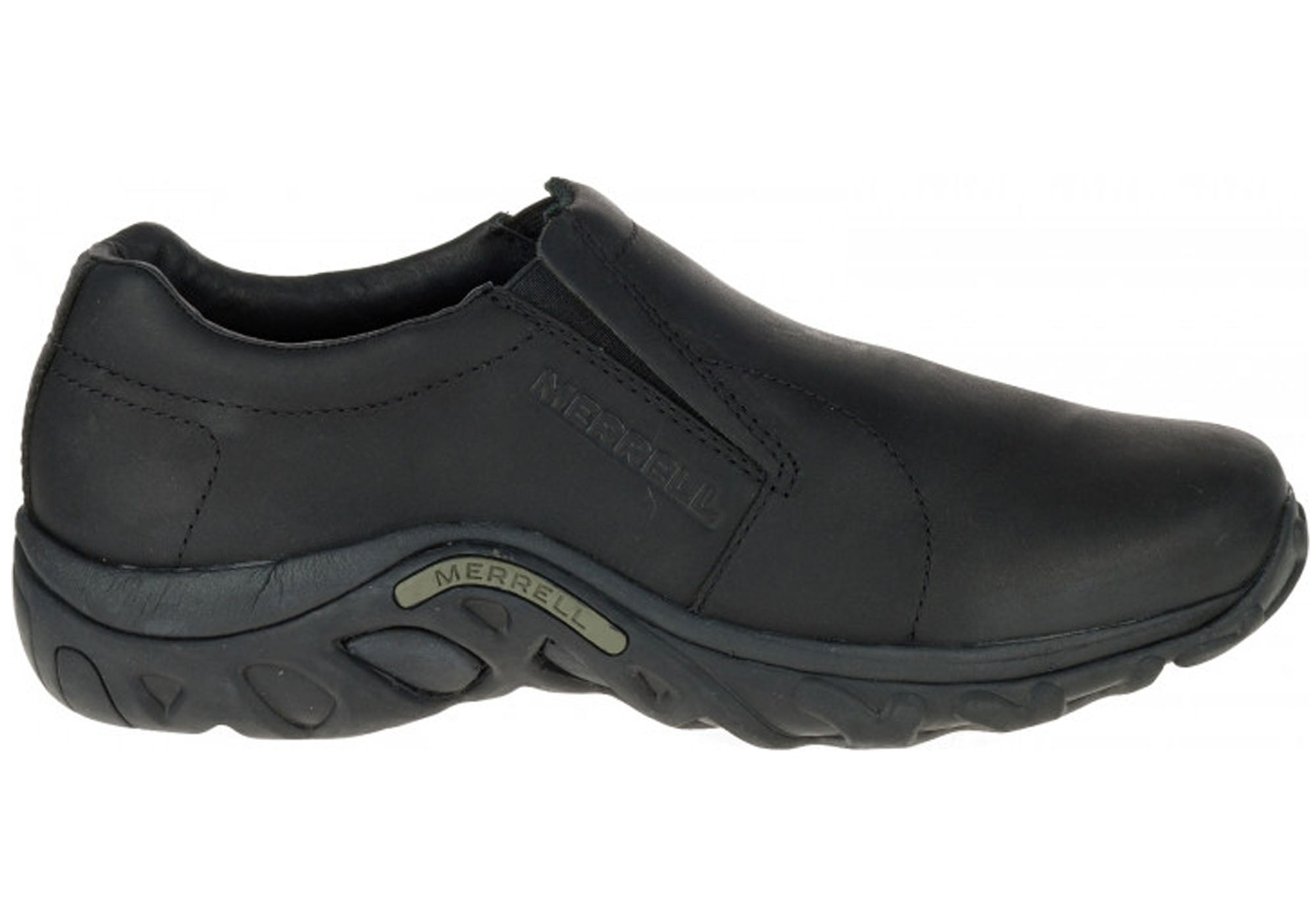 7aa7f967bf23 Home Merrell Mens Jungle Moc Black Leather Slip On Comfortable Casual Shoes.  Black Leather ...