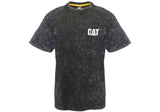 Caterpillar Mens Comfortable Trademark Acid Wash Black Tee