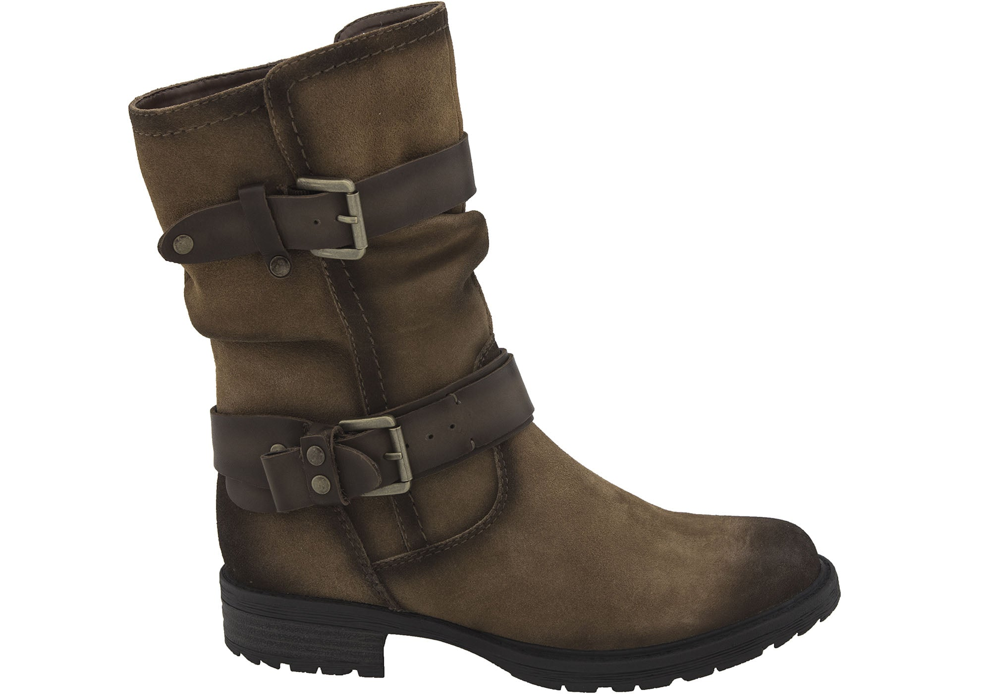 25fa723e2bec ... Womens Comfortable Low Heel Mid Calf Boots. Black Leather · Khaki ·  Brown ...