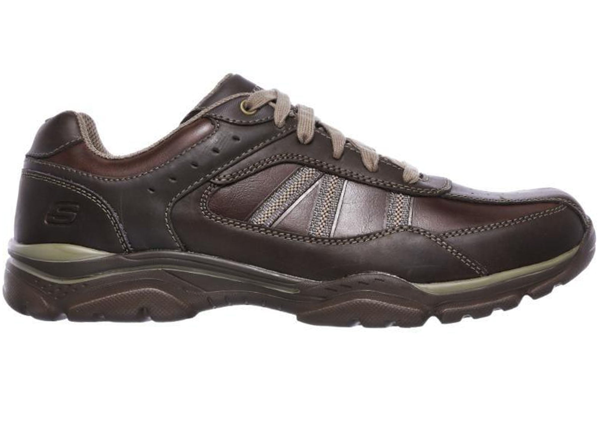 e6979c4896e85 Home Skechers Mens Rovato Texon Relaxed Fit Memory Foam Lace Up Wide Shoes.  Black/Taupe; Chocolate ...