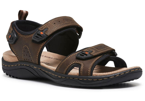 Hush Puppies Austin Mens Leather Comfort Adjustable Sandals