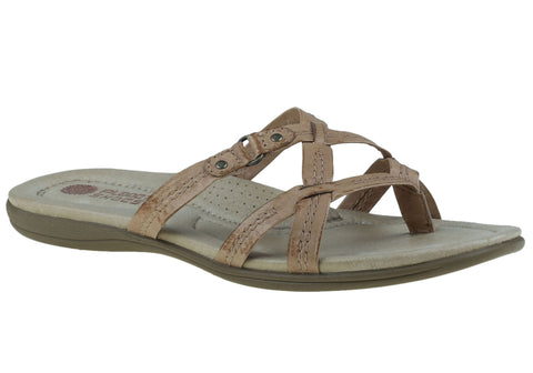 Planet Shoes Carla Womens Flat Leather Comfort Slide Sandals