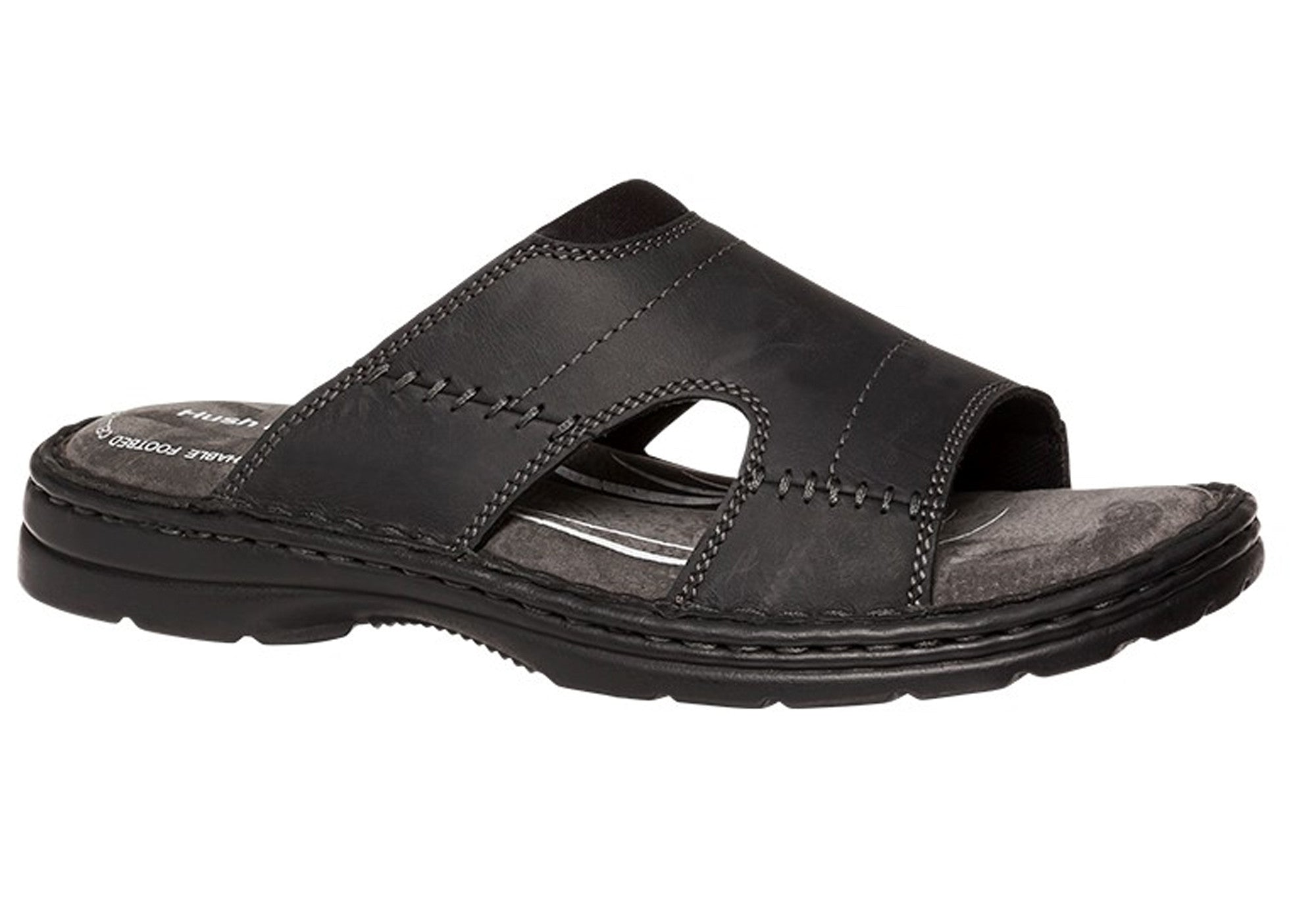 Hush Puppies Mens Size 8 Black Leather Sandles Brand New