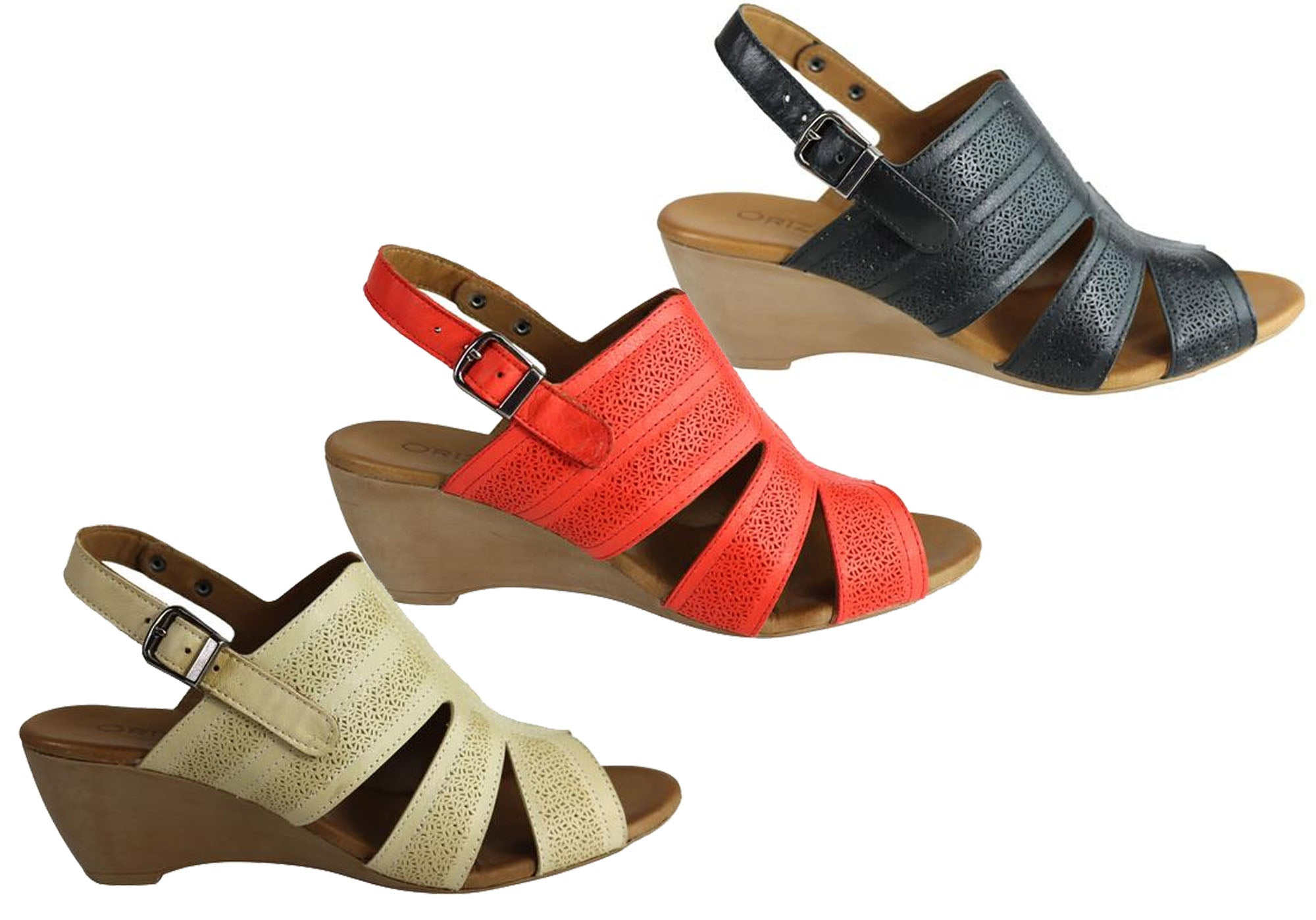 Details about NEW ORIZONTE PINTA WOMENS EUROPEAN LEATHER COMFORTABLE WEDGE SANDALS