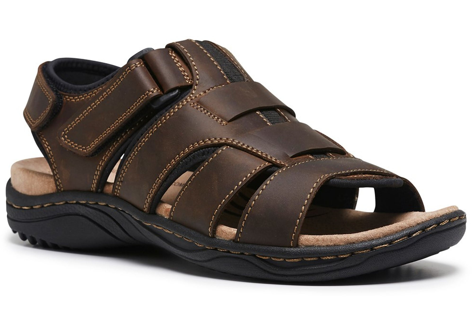 d3d5f56ac Home Hush Puppies Apollo Mens Leather Comfortable Sandals. Brown  Brown   Brown