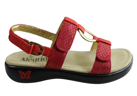 Alegria Julie Womens Comfortable Leather Adjustable Strap Sandals