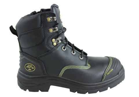 Oliver Mens AT 55345Z Zip Side Lace Up Steel Cap Work Boots