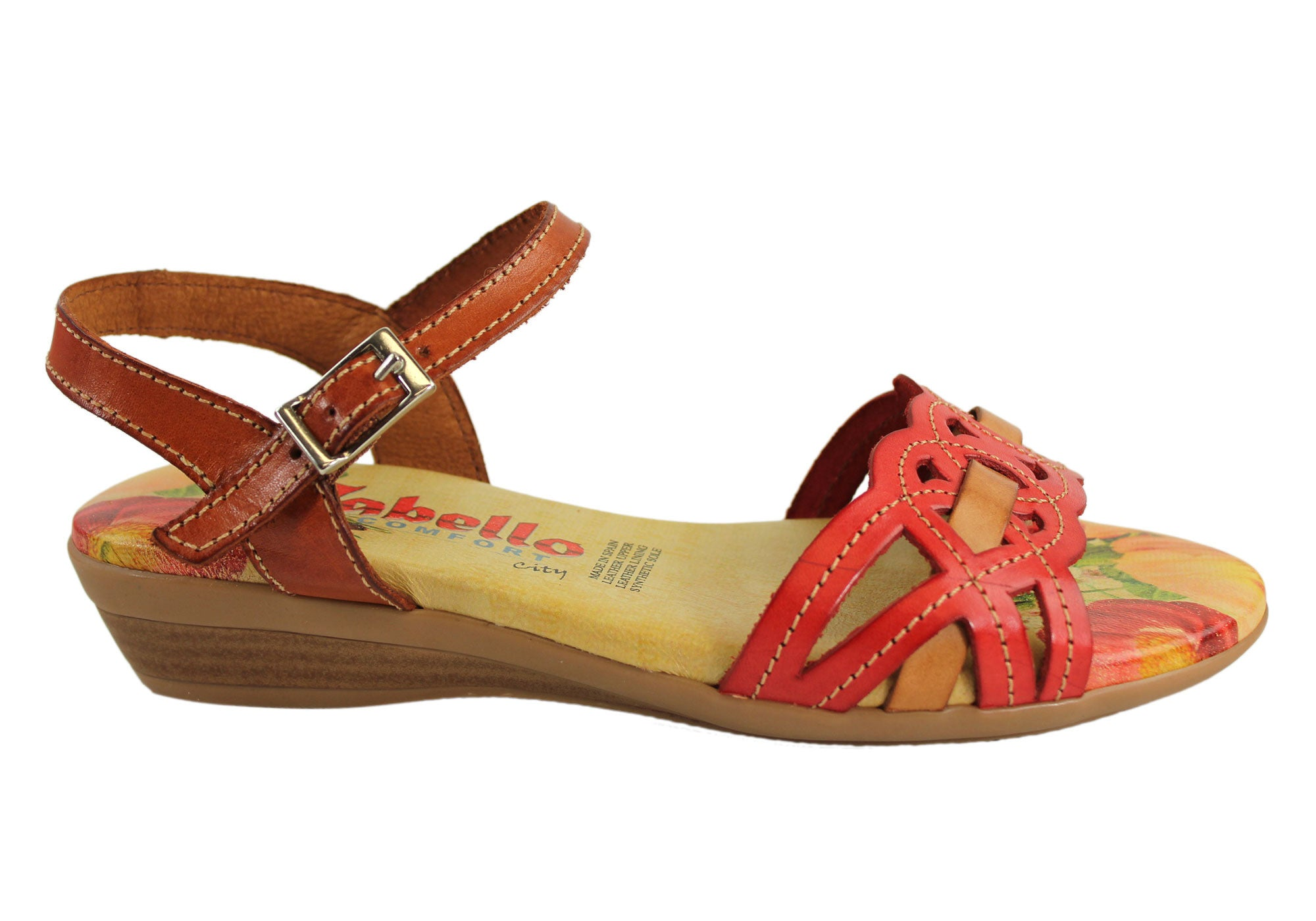 5c3abaf36ab Cabello Comfort 2027 Womens Leather Low Wedge Sandals Made In Spain ...