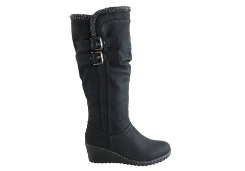 Bellissimo Kate Womens Comfort Knee High Wedge Boots