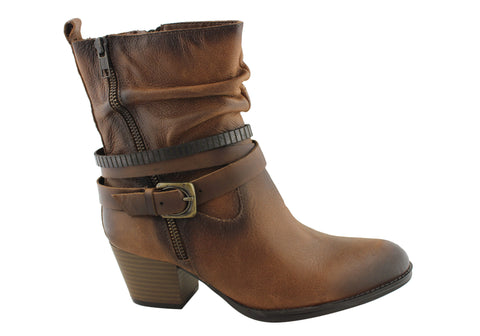 Earth Spruce Womens Comfortable Leather Ankle Boots