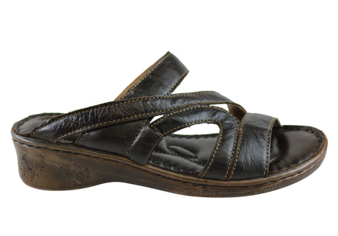 Florence Marala Womens Leather Comfort Wedge Slide Sandals