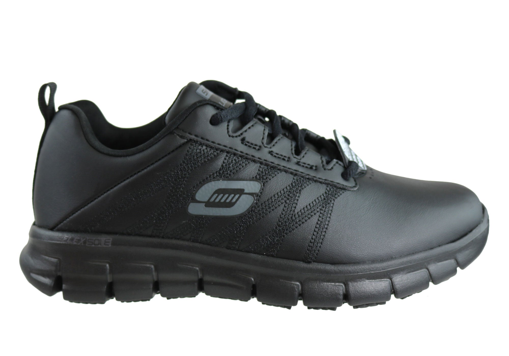 b558e2cd8d14d Home Skechers Womens Sure Track Erath Leather Slip Resistant Work Shoes.  Black ...