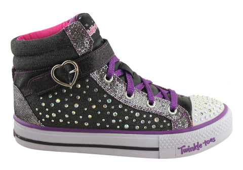 Skechers Twinkle Toes Spotlight Star Girls Hi Top Shoes