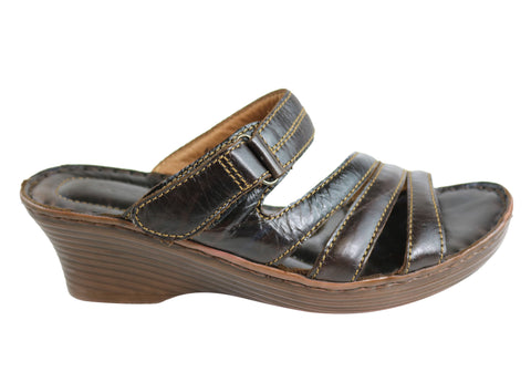 Florence Arbara Womens Leather Comfort Wedge Slide Sandals