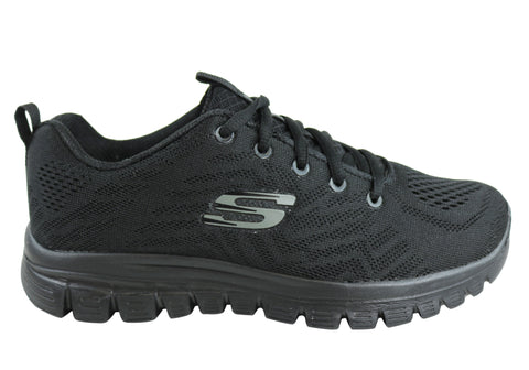 Skechers Womens Graceful Get Connected Memory Foam Lace Up Shoes