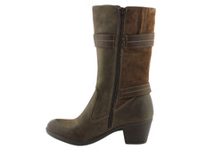 Planet Shoes Feron Womens Leather Mid Calf Boots