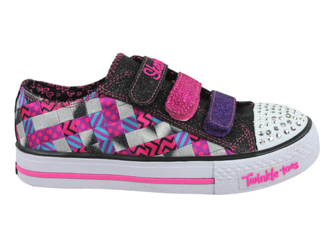 Skechers S Lights Shuffles Dots & Glitz Older Girls Shoes