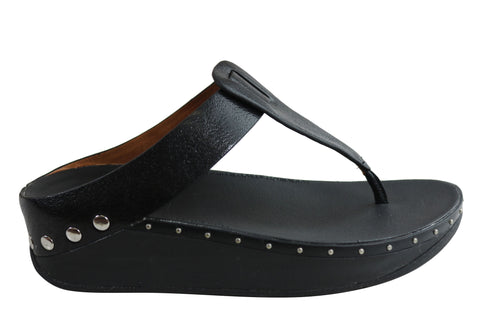 Fitflop Womens Comfort Isabelle Stud Leather Toe Post Thongs Sandals