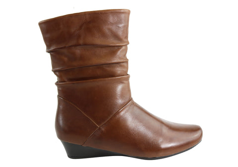 Natural Comfort Kim Womens Comfort Mid Calf Wedge Boots