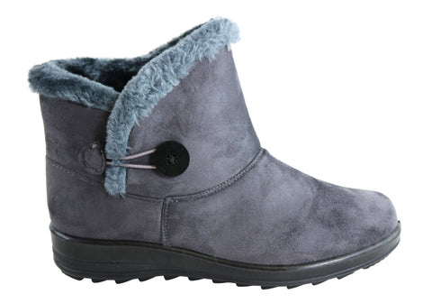 Bellissimo Temora Womens Fur Lined Comfort Warm Ankle Boots